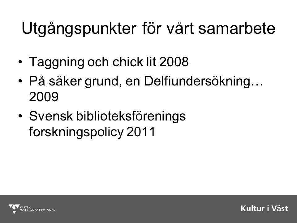 Utgångspunkter för vårt samarbete Taggning och chick lit 2008 På säker grund, en Delfiundersökning… 2009 Svensk biblioteksförenings forskningspolicy 2