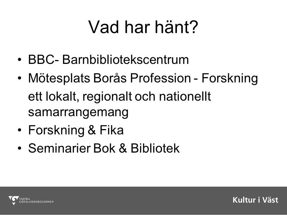 Vad har hänt? BBC- Barnbibliotekscentrum Mötesplats Borås Profession - Forskning ett lokalt, regionalt och nationellt samarrangemang Forskning & Fika