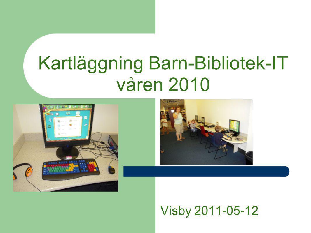 Bakgrund och syfte Betydande skillnader i landet beträffande barn och IT på barnbiblioteken Arbetsgrupp på initiativ av SLB Kartläggning av läget– ge klarare bild, idéer och underlag till en strategi för länsbiblioteken Barn upp till 15 år