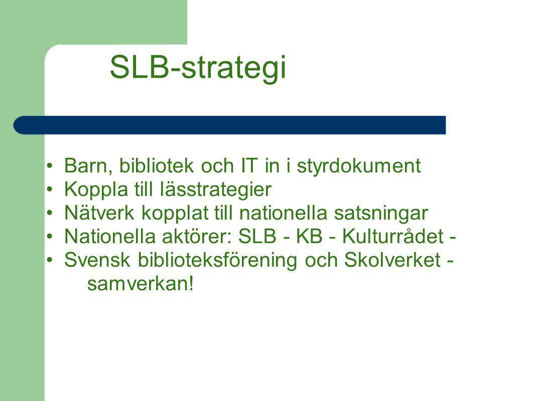 SLB-strategi Barn, bibliotek och IT in i styrdokument Koppla till lässtrategier Nätverk kopplat till nationella satsningar Nationella aktörer: SLB - K
