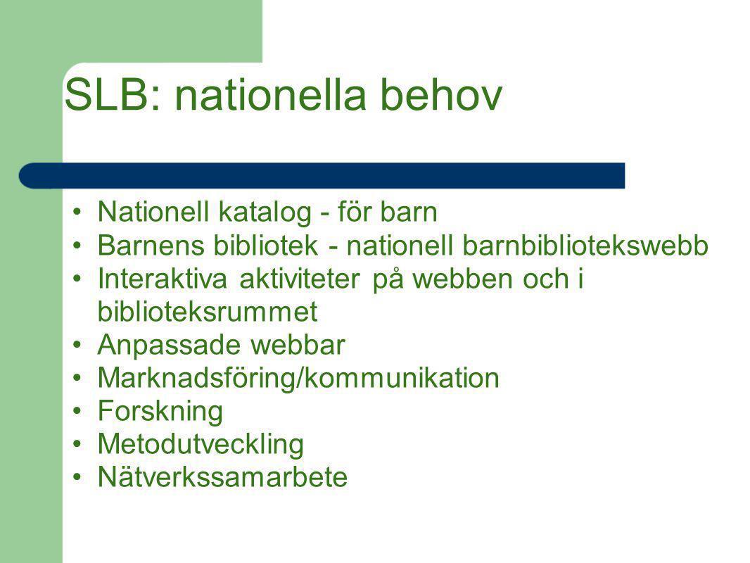 SLB: nationella behov Nationell katalog - för barn Barnens bibliotek - nationell barnbibliotekswebb Interaktiva aktiviteter på webben och i biblioteks