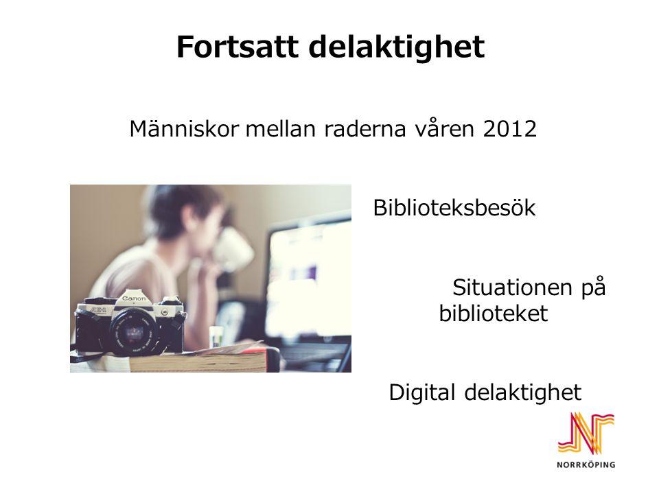 Fortsatt delaktighet Människor mellan raderna våren 2012 Biblioteksbesök Situationen på biblioteket Digital delaktighet