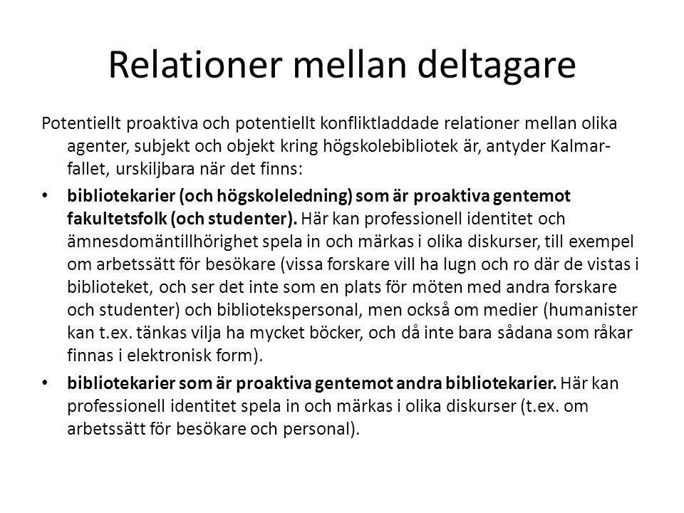 Relationer mellan deltagare Potentiellt proaktiva och potentiellt konfliktladdade relationer mellan olika agenter, subjekt och objekt kring högskolebibliotek är, antyder Kalmar- fallet, urskiljbara när det finns: bibliotekarier (och högskoleledning) som är proaktiva gentemot fakultetsfolk (och studenter).