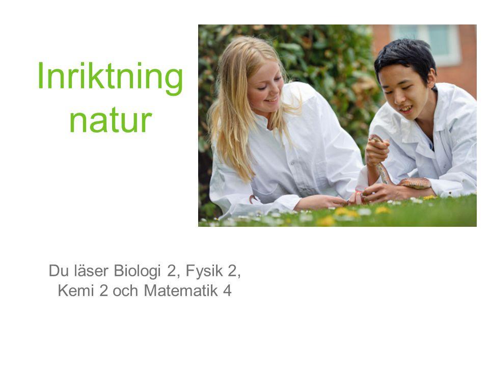 Inriktning natur Du läser Biologi 2, Fysik 2, Kemi 2 och Matematik 4
