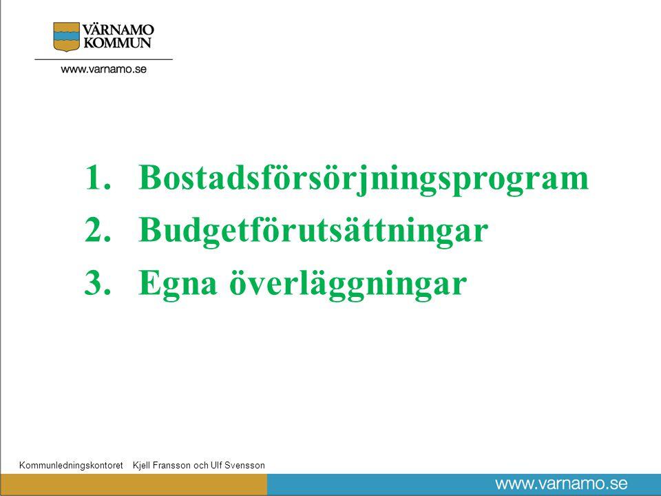 Kommunledningskontoret Kjell Fransson och Ulf Svensson 1.Bostadsförsörjningsprogram 2.Budgetförutsättningar 3.Egna överläggningar