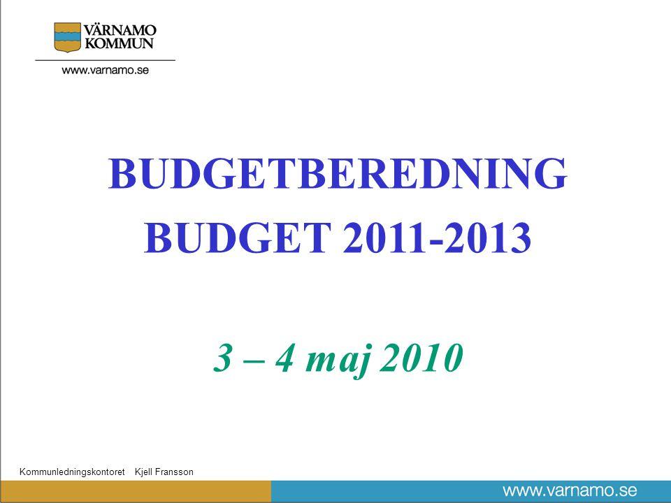 Kommunledningskontoret Kjell Fransson BUDGETBEREDNING BUDGET 2011-2013 3 – 4 maj 2010