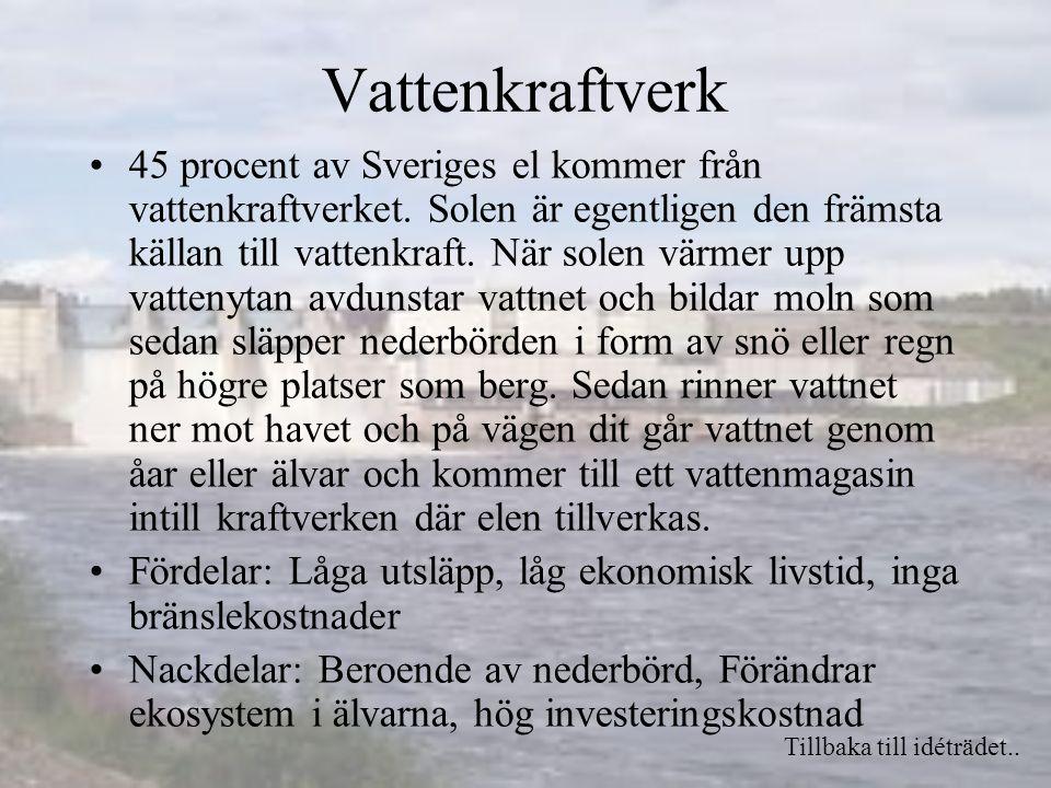 Vattenkraftverk 45 procent av Sveriges el kommer från vattenkraftverket.