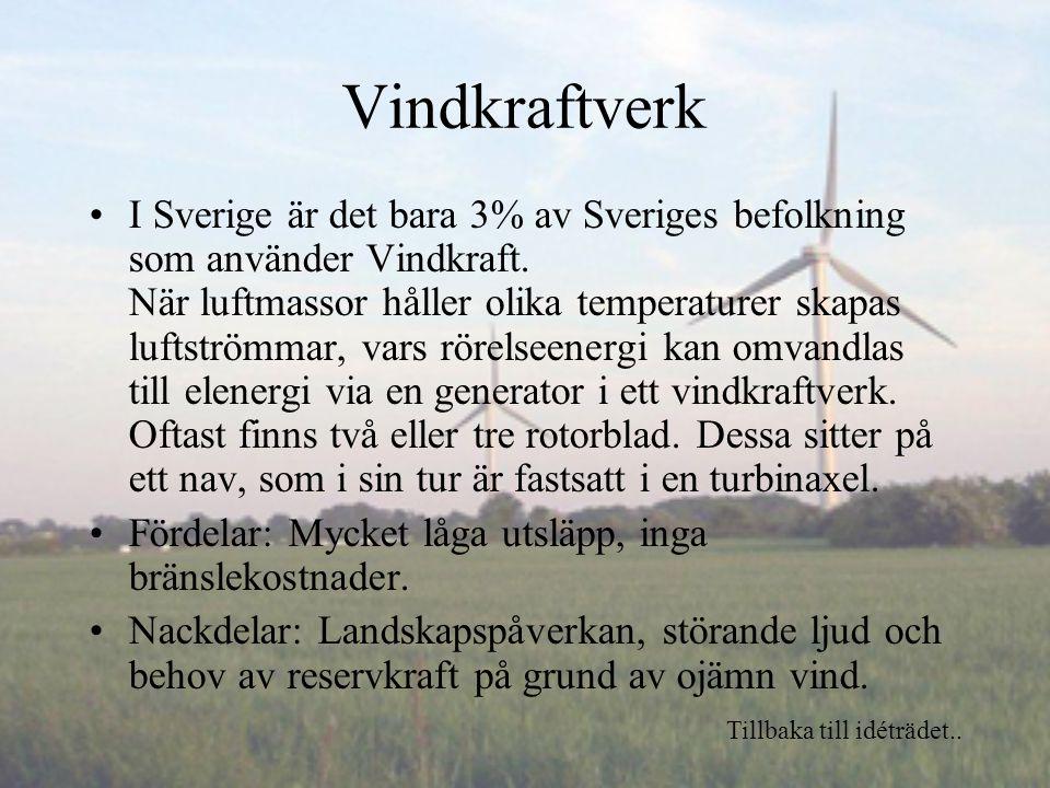 Vindkraftverk I Sverige är det bara 3% av Sveriges befolkning som använder Vindkraft.