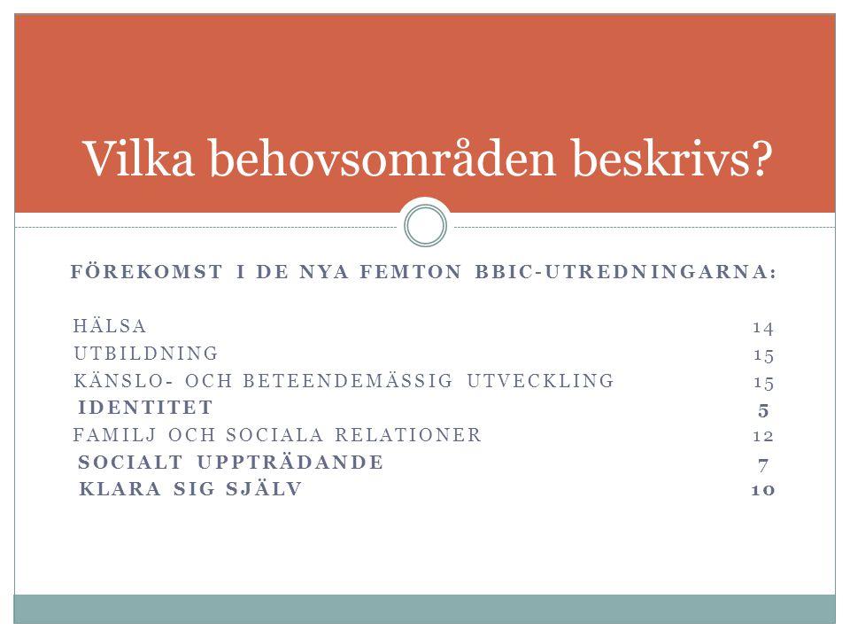 FÖREKOMST I DE NYA FEMTON BBIC-UTREDNINGARNA: HÄLSA14 UTBILDNING15 KÄNSLO- OCH BETEENDEMÄSSIG UTVECKLING15 IDENTITET5 FAMILJ OCH SOCIALA RELATIONER12