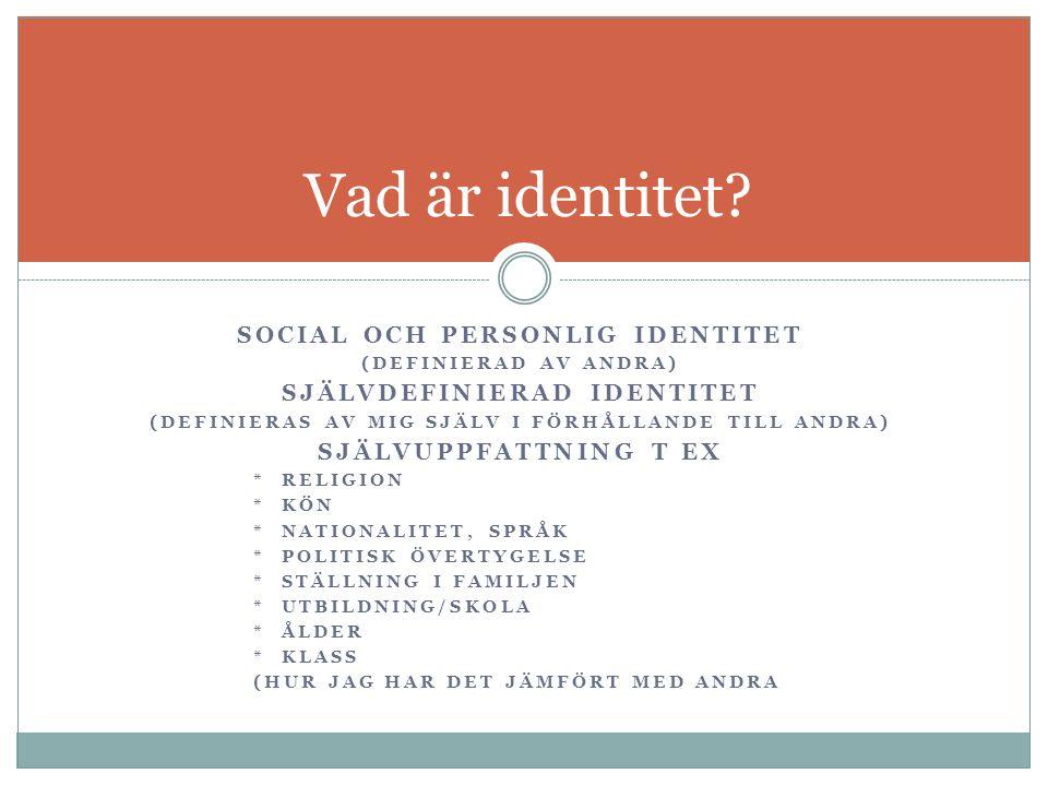 SOCIAL OCH PERSONLIG IDENTITET (DEFINIERAD AV ANDRA) SJÄLVDEFINIERAD IDENTITET (DEFINIERAS AV MIG SJÄLV I FÖRHÅLLANDE TILL ANDRA) SJÄLVUPPFATTNING T E