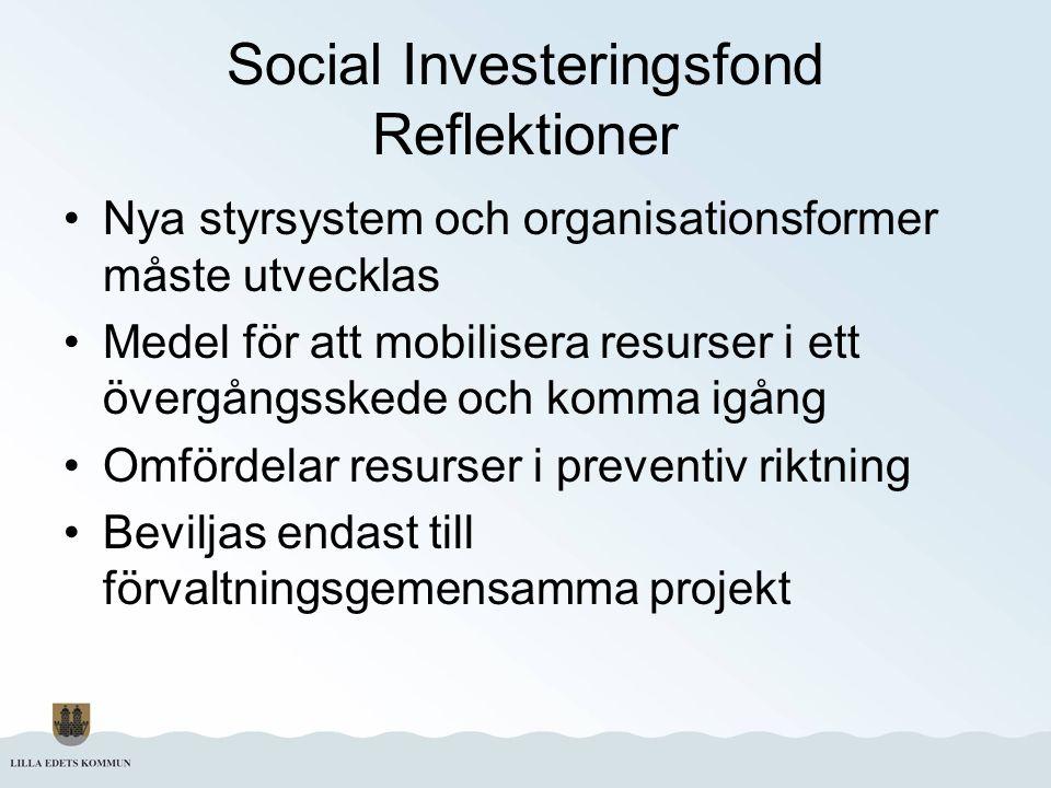 Social Investeringsfond Reflektioner Nya styrsystem och organisationsformer måste utvecklas Medel för att mobilisera resurser i ett övergångsskede och