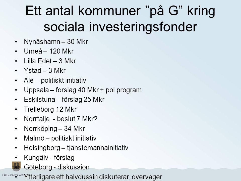 """Ett antal kommuner """"på G"""" kring sociala investeringsfonder Nynäshamn – 30 Mkr Umeå – 120 Mkr Lilla Edet – 3 Mkr Ystad – 3 Mkr Ale – politiskt initiati"""