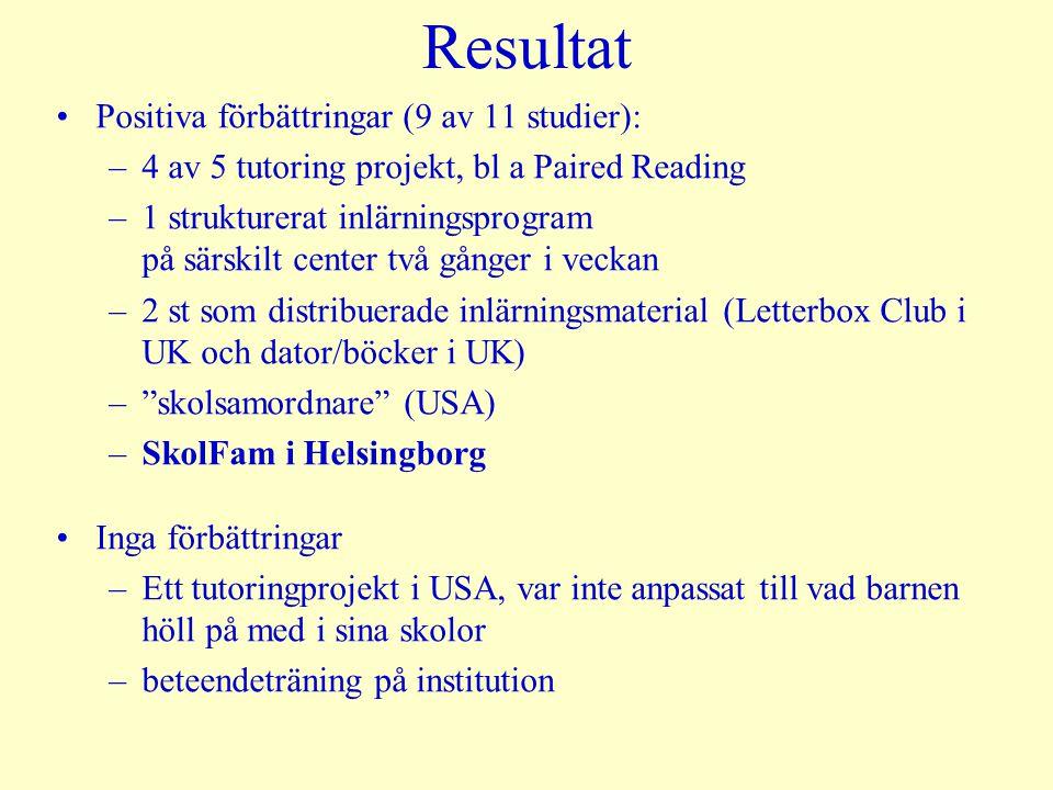 Resultat Positiva förbättringar (9 av 11 studier): –4 av 5 tutoring projekt, bl a Paired Reading –1 strukturerat inlärningsprogram på särskilt center