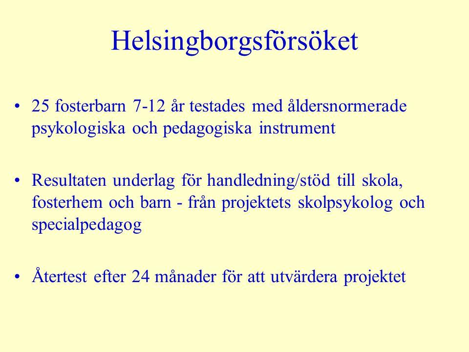 Helsingborgsförsöket 25 fosterbarn 7-12 år testades med åldersnormerade psykologiska och pedagogiska instrument Resultaten underlag för handledning/st