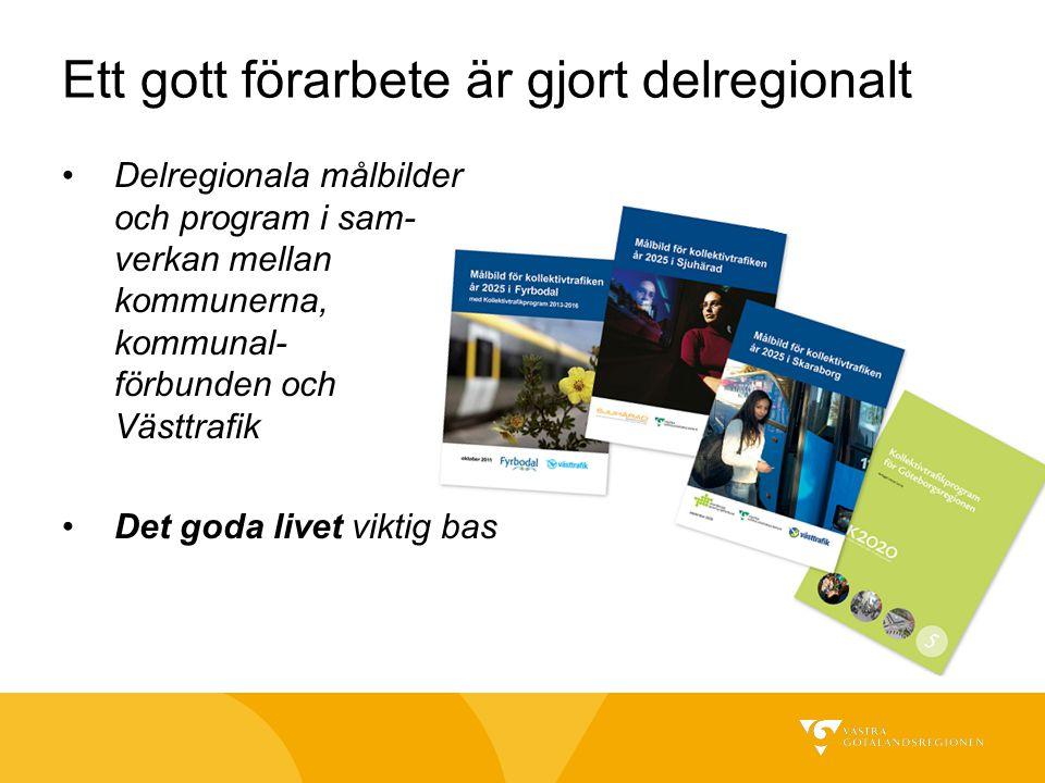 Ett gott förarbete är gjort delregionalt Delregionala målbilder och program i sam- verkan mellan kommunerna, kommunal- förbunden och Västtrafik Det go