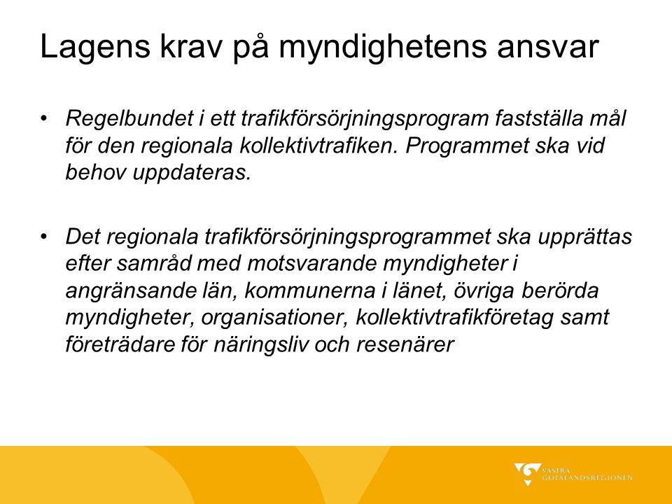 Lagens krav på myndighetens ansvar Regelbundet i ett trafikförsörjningsprogram fastställa mål för den regionala kollektivtrafiken. Programmet ska vid