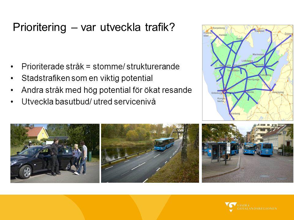 Prioritering – var utveckla trafik? Prioriterade stråk = stomme/ strukturerande Stadstrafiken som en viktig potential Andra stråk med hög potential fö