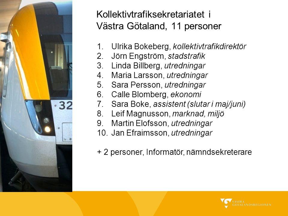 Kollektivtrafiksekretariatet i Västra Götaland, 11 personer 1.Ulrika Bokeberg, kollektivtrafikdirektör 2.Jörn Engström, stadstrafik 3.Linda Billberg,