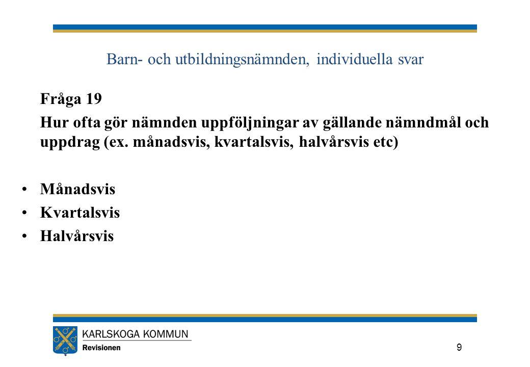 Barn- och utbildningsnämnden, individuella svar Fråga 19 Hur ofta gör nämnden uppföljningar av gällande nämndmål och uppdrag (ex.