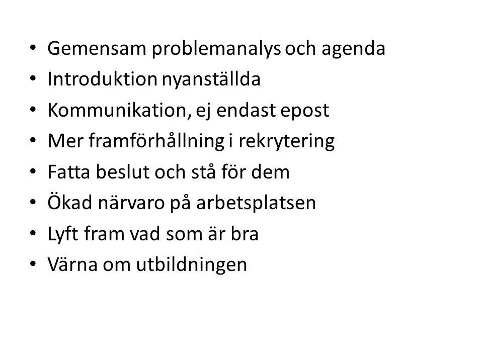 Gemensam problemanalys och agenda Introduktion nyanställda Kommunikation, ej endast epost Mer framförhållning i rekrytering Fatta beslut och stå för dem Ökad närvaro på arbetsplatsen Lyft fram vad som är bra Värna om utbildningen