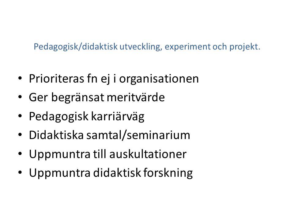 Pedagogisk/didaktisk utveckling, experiment och projekt.