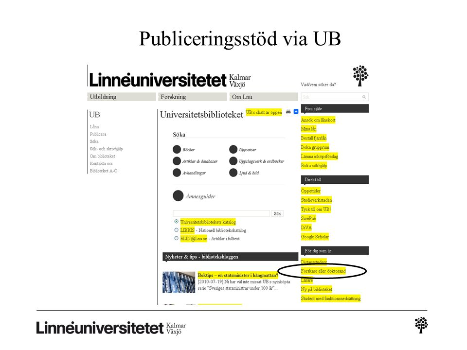 Publiceringsstöd via UB