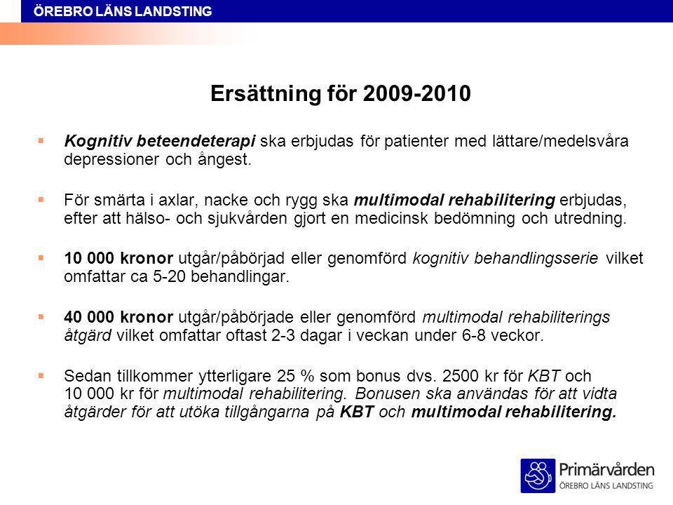 ÖREBRO LÄNS LANDSTING Ersättning för 2009-2010  Kognitiv beteendeterapi ska erbjudas för patienter med lättare/medelsvåra depressioner och ångest. 