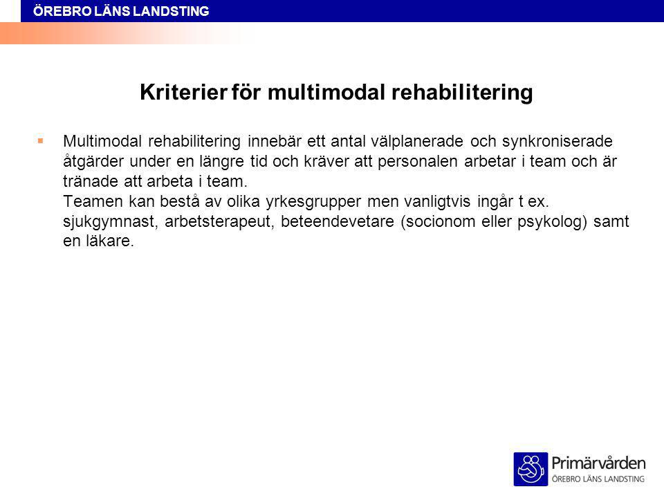 ÖREBRO LÄNS LANDSTING Kriterier för multimodal rehabilitering  Multimodal rehabilitering innebär ett antal välplanerade och synkroniserade åtgärder u