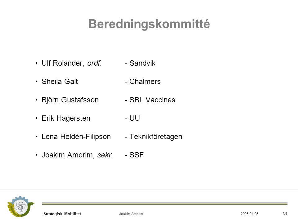 Strategisk Mobilitet Joakim Amorim2008-04-03 4/8 Beredningskommitté Ulf Rolander, ordf.