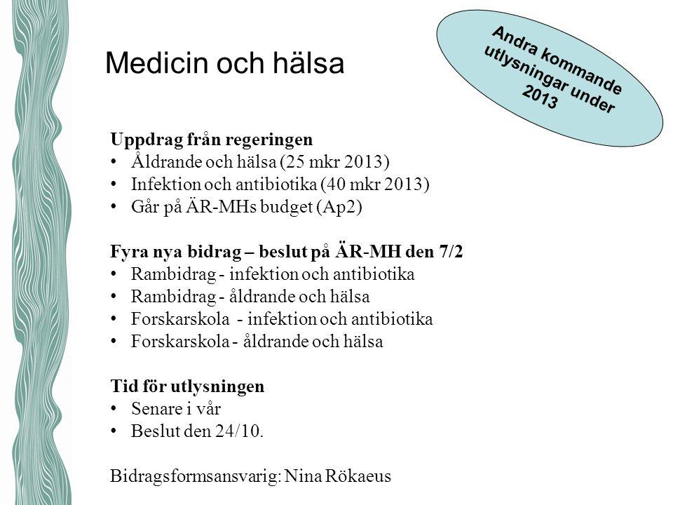 Medicin och hälsa Forskarskola förkollärare U-forsk Gästprofessurer Swedish Research links Andra kommande utlysningar under 2013 Uppdrag från regering
