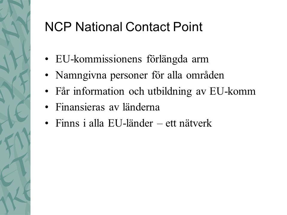 NCP National Contact Point EU-kommissionens förlängda arm Namngivna personer för alla områden Får information och utbildning av EU-komm Finansieras av länderna Finns i alla EU-länder – ett nätverk