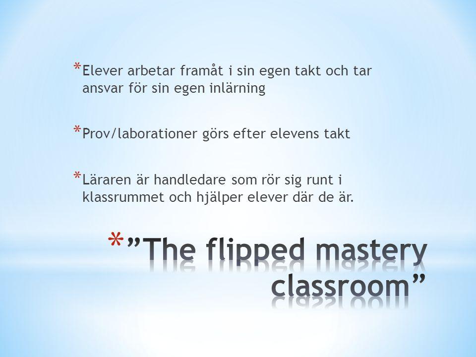* Elever arbetar framåt i sin egen takt och tar ansvar för sin egen inlärning * Prov/laborationer görs efter elevens takt * Läraren är handledare som rör sig runt i klassrummet och hjälper elever där de är.