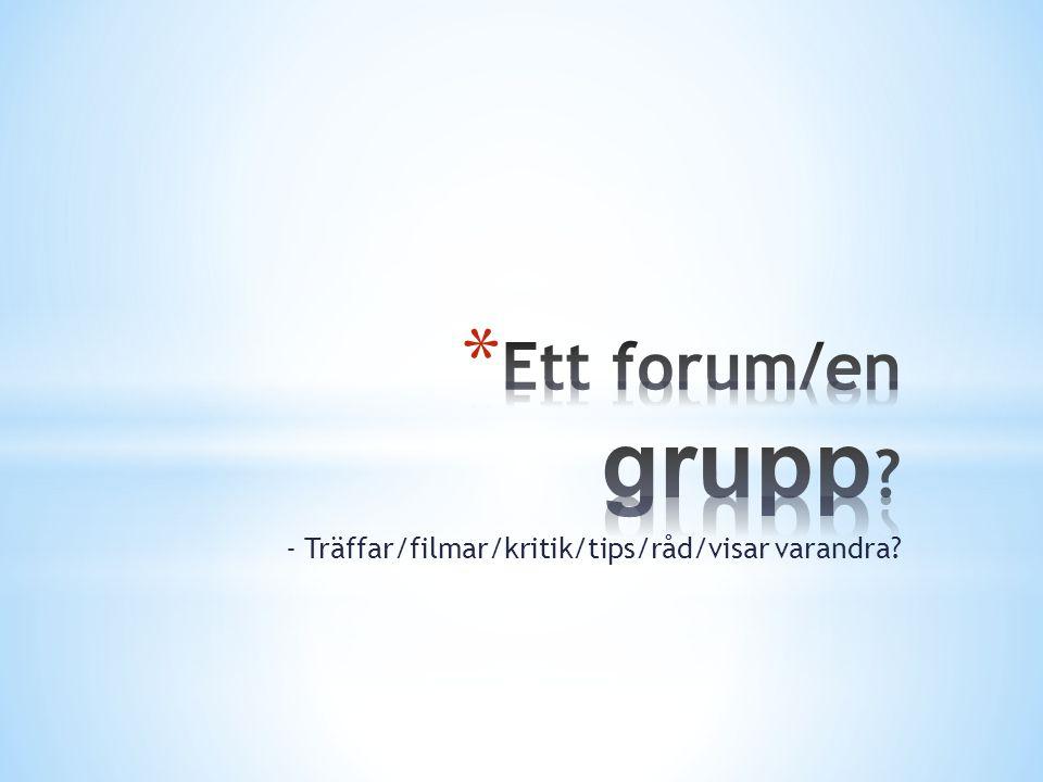 - Träffar/filmar/kritik/tips/råd/visar varandra?