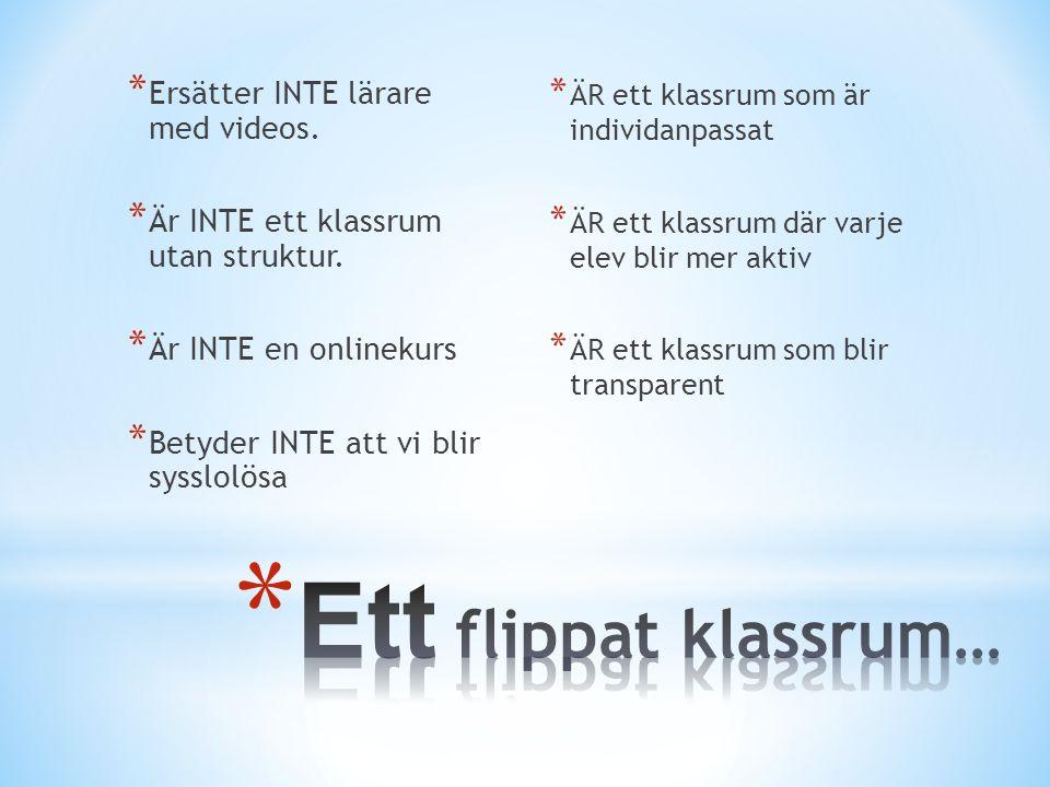 * Ersätter INTE lärare med videos.* Är INTE ett klassrum utan struktur.