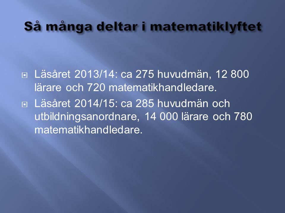  Läsåret 2013/14: ca 275 huvudmän, 12 800 lärare och 720 matematikhandledare.  Läsåret 2014/15: ca 285 huvudmän och utbildningsanordnare, 14 000 lär