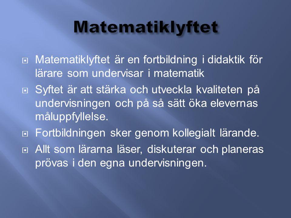  Matematiklyftet är en fortbildning i didaktik för lärare som undervisar i matematik  Syftet är att stärka och utveckla kvaliteten på undervisningen