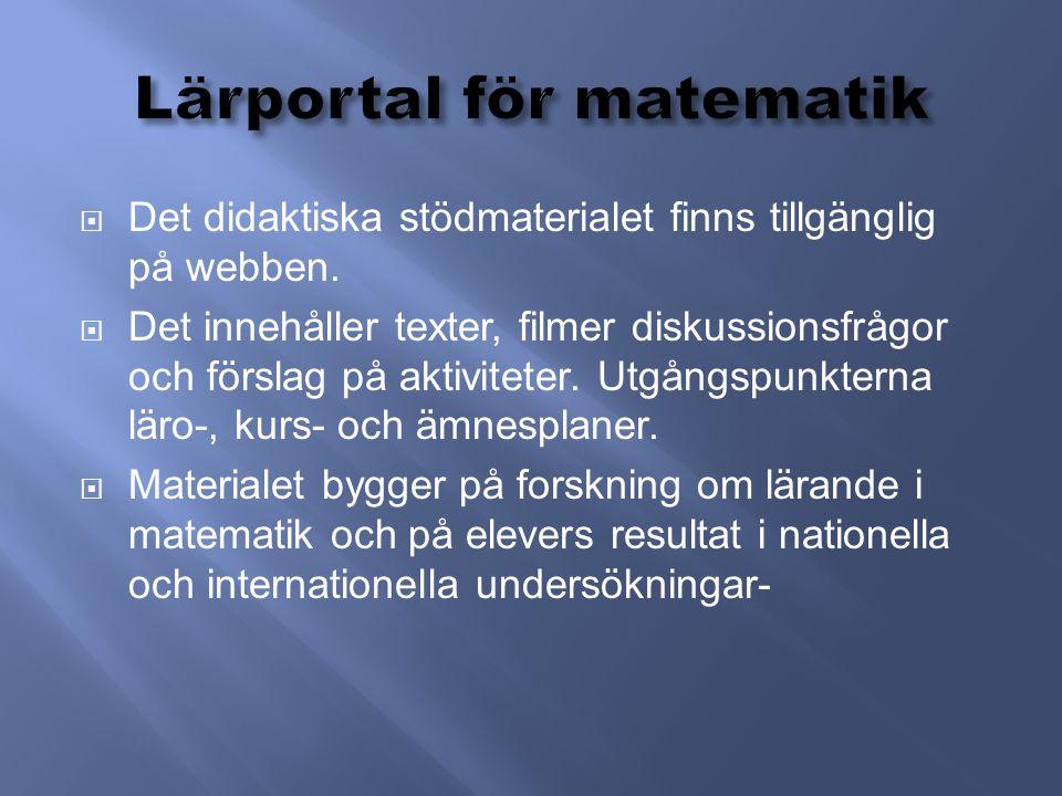  Det didaktiska stödmaterialet finns tillgänglig på webben.  Det innehåller texter, filmer diskussionsfrågor och förslag på aktiviteter. Utgångspunk