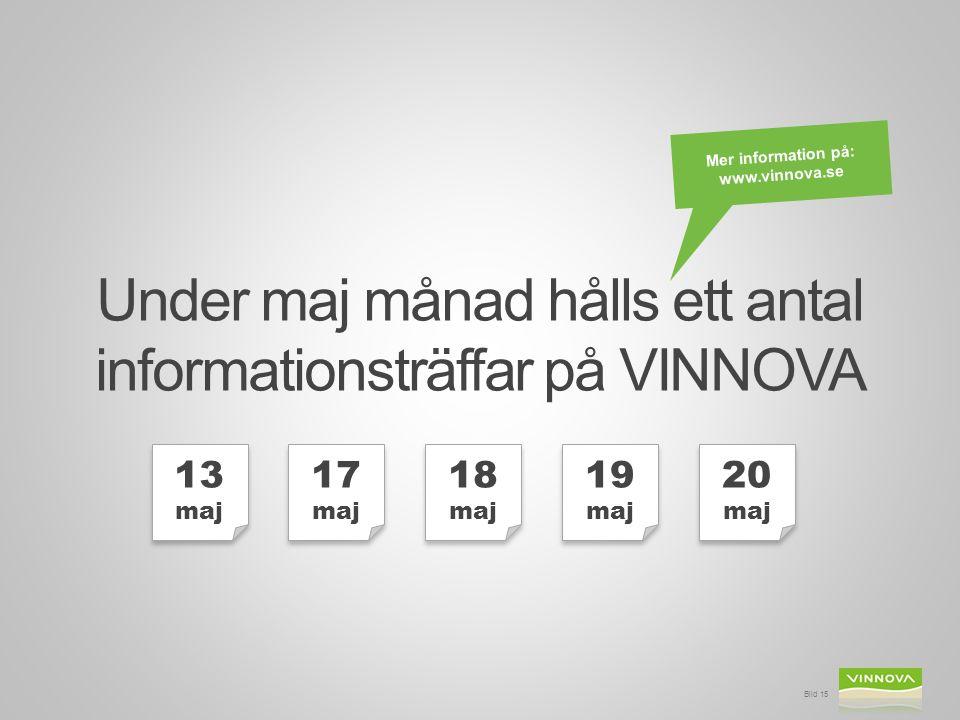 Bild 15 Under maj månad hålls ett antal informationsträffar på VINNOVA Mer information på: www.vinnova.se 13 maj 17 maj 18 maj 19 maj 20 maj