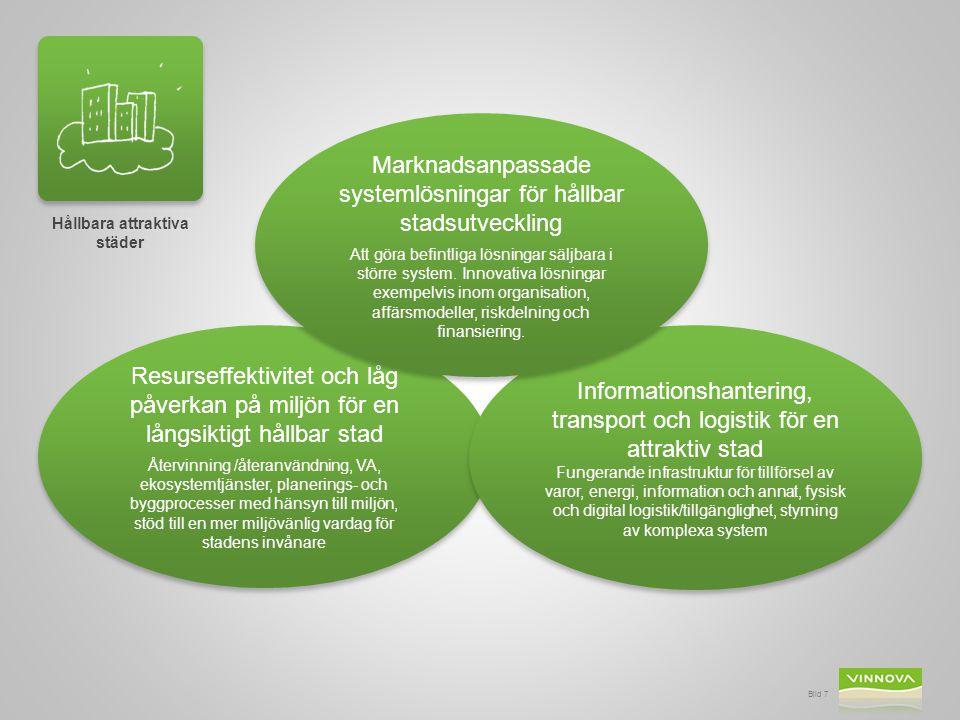 Bild 7 Hållbara attraktiva städer Resurseffektivitet och låg påverkan på miljön för en långsiktigt hållbar stad Återvinning /återanvändning, VA, ekosy