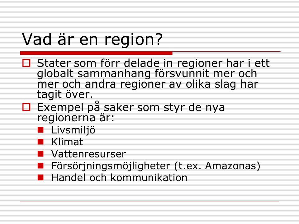 Vad är en region?  Stater som förr delade in regioner har i ett globalt sammanhang försvunnit mer och mer och andra regioner av olika slag har tagit