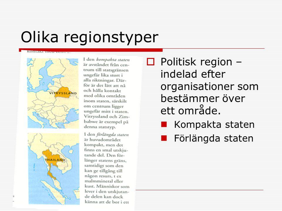 Olika regionstyper  Politisk region – indelad efter organisationer som bestämmer över ett område. Kompakta staten Förlängda staten