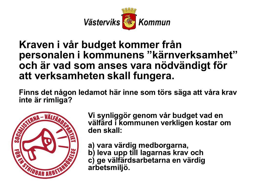 Kraven i vår budget kommer från personalen i kommunens kärnverksamhet och är vad som anses vara nödvändigt för att verksamheten skall fungera.