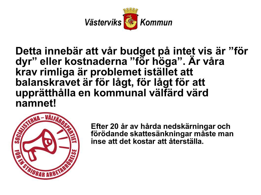 Detta innebär att vår budget på intet vis är för dyr eller kostnaderna för höga .