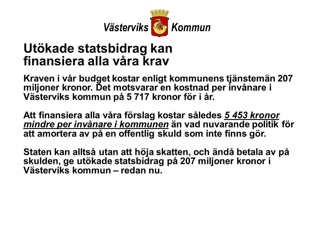 Utökade statsbidrag kan finansiera alla våra krav Kraven i vår budget kostar enligt kommunens tjänstemän 207 miljoner kronor.