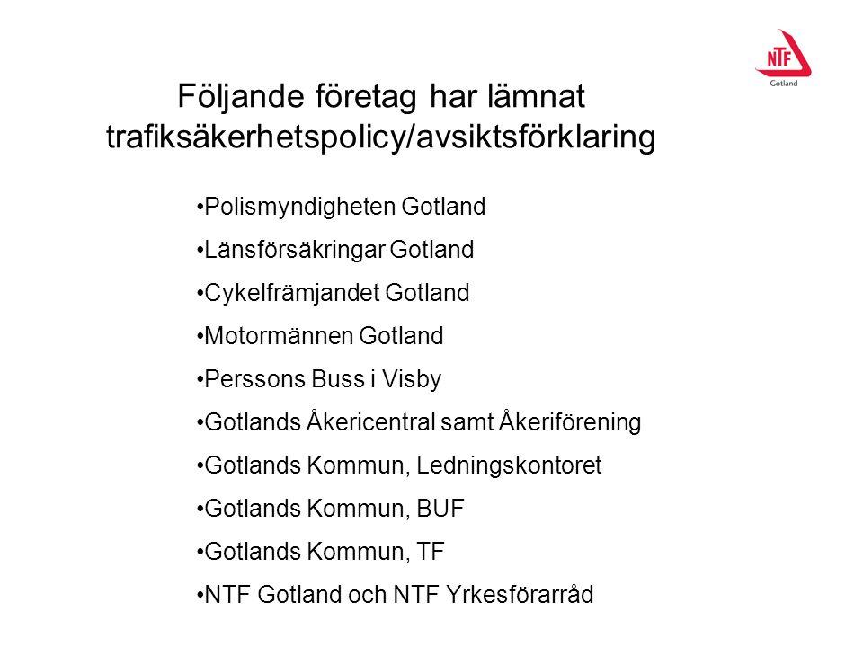 Följande företag har lämnat trafiksäkerhetspolicy/avsiktsförklaring Polismyndigheten Gotland Länsförsäkringar Gotland Cykelfrämjandet Gotland Motormän