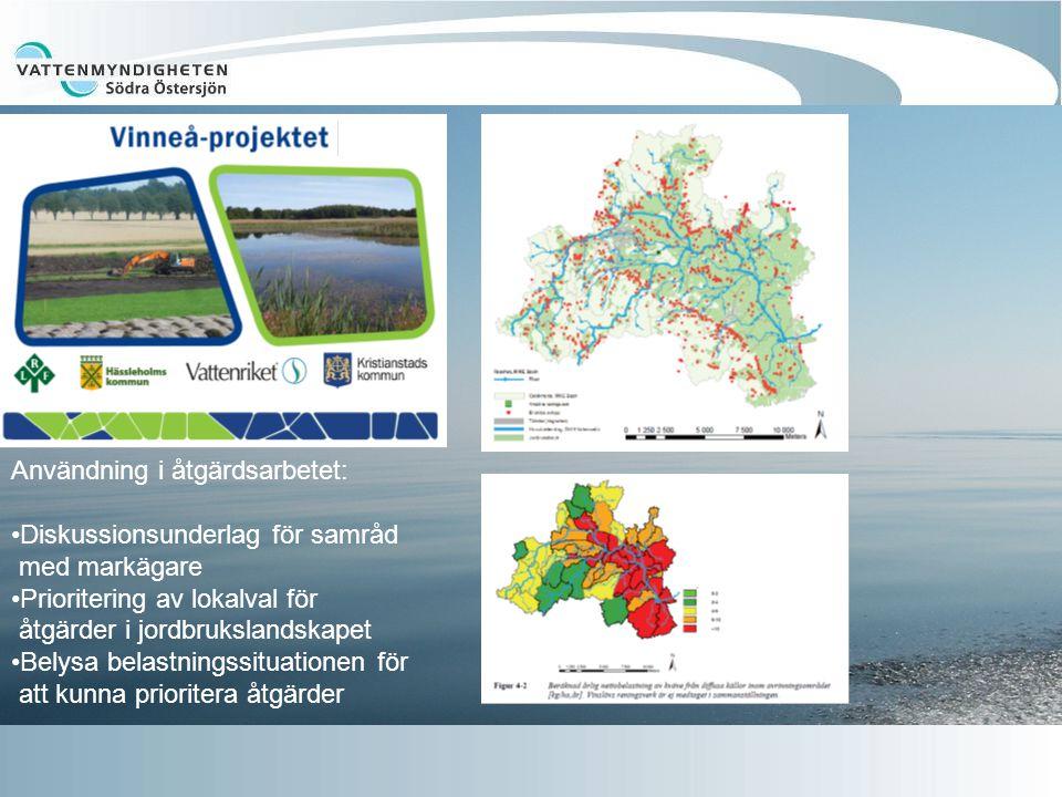 Användning i åtgärdsarbetet: Diskussionsunderlag för samråd med markägare Prioritering av lokalval för åtgärder i jordbrukslandskapet Belysa belastningssituationen för att kunna prioritera åtgärder