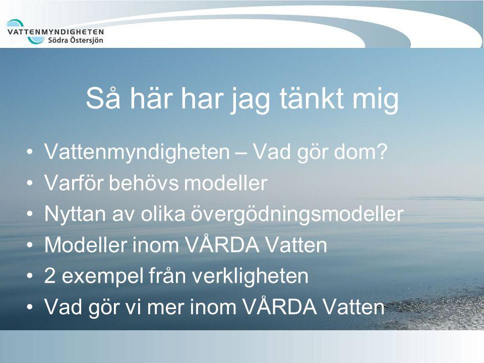 Så här har jag tänkt mig Vattenmyndigheten – Vad gör dom? Varför behövs modeller Nyttan av olika övergödningsmodeller Modeller inom VÅRDA Vatten 2 exe