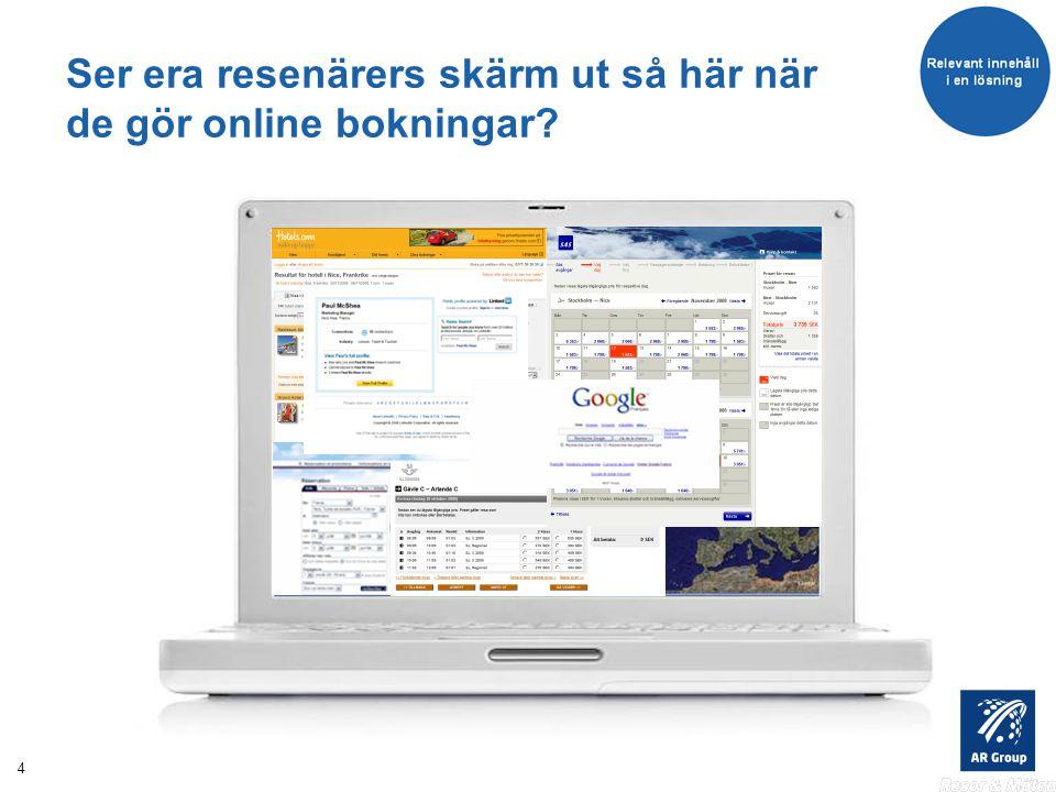 4 Ser era resenärers skärm ut så här när de gör online bokningar