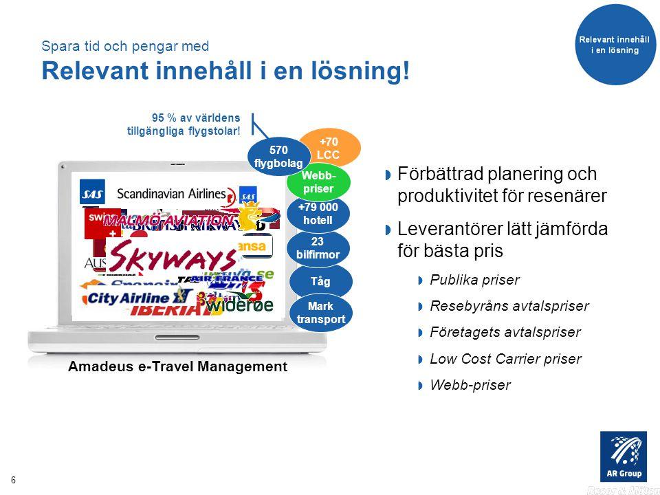 6 Tåg 23 bilfirmor Mark transport +79 000 hotell Amadeus e-Travel Management Spara tid och pengar med Relevant innehåll i en lösning.