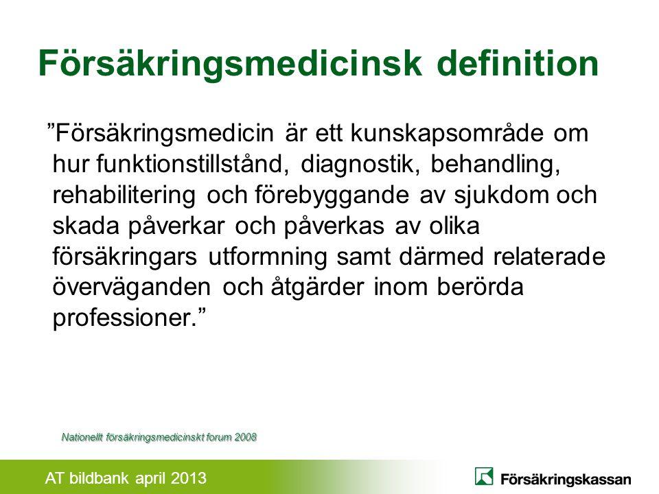 AT bildbank april 2013 Illabefinnade Frisk Sjukdom Välbefinnande - ökad förmåga Sjuk- försäkrad Rehabilitering Behandling Rehabilitering Behandling eller rehabilitering.